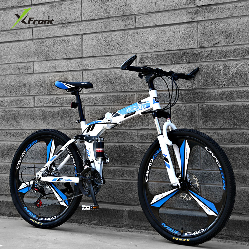 New Brand Mountain Bike Carbon Steel Frame Double cushioning 21/24/27 Speed 24/26 inch Wheel Folding Bicycle MTB Bicicleta image