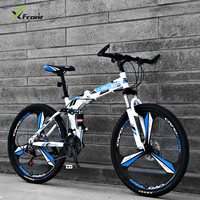 New Brand Mountain Bike Carbon Steel Frame Double Cushioning 21 24 27 Speed 24 26 Inch