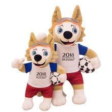 45CM Wolf Plush Toys 2018 Ρωσία Φουσκωτά Κούκλες Μασκότ Ζάβιβακα Γεμιστά Παιχνίδια Ποδοσφαίρου Ποδοσφαίρου Ποδόσφαιρο Δώρα Σουβενίρ