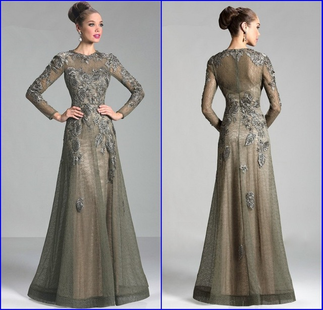 Gorgeous Vestido De Renda Long Sleeve Dresses For Wedding Guest Beaded Lique Plus Size Mother Of