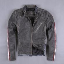 DHL Free shipping,fashion Brand skull leather Jackets men's genuine Leather biker jacket.motorbiker vintage