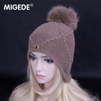 2018 New fashion Solid Color Wool Knitted Hat with fur pompoms women snow hats High Quality Earmuffs Hat Skullies Beanies caps
