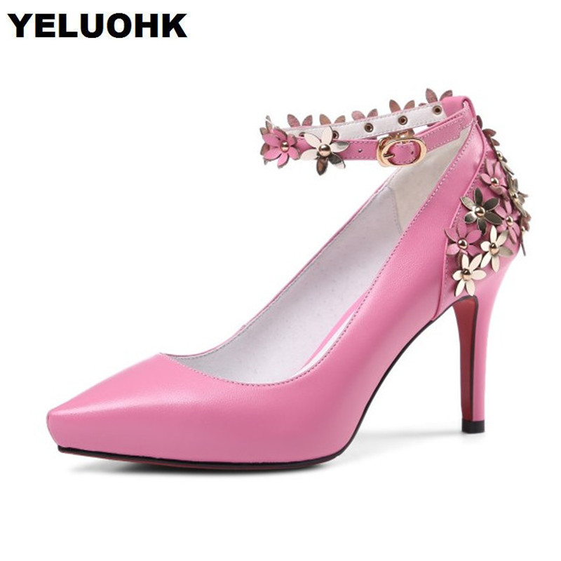 Brand New Pointed Toe Genuine Lether Shoes Woman High Heels Flower Party Shoes Women Pumps 8cm Thin Heel Ladies Shoes 2016 woman high heels pumps thin heel women s shoes pointed toe high heels wedding shoes brand fashion shoes