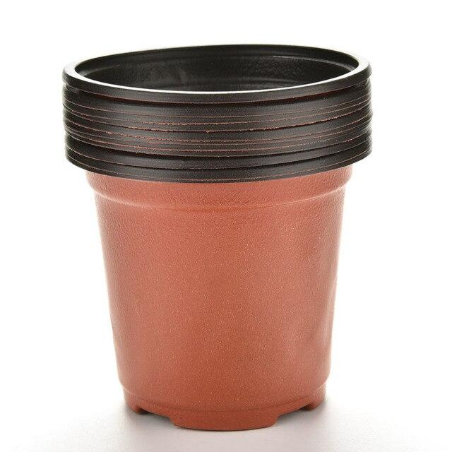 Us 0 99 16 Off Aliexpress 10 Pcs Set Flower Pots Plastic Round Pot 9 X 8 6cm Nursery Planter Home Garden Decor From Reliable