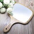 5 PCS Alça de Lã de Madeira Feitos À Mão Emoldurado Espelho Unbroken Espelho De Madeira de Madeira Do Vintage Espelho Portátil Espelho de Maquiagem Mini Cosméticos SE5