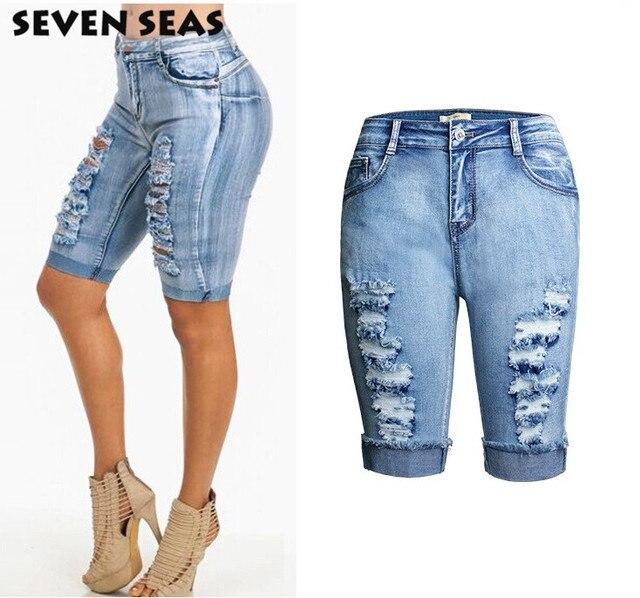 b4b5ffae9 De moda de rodilla longitud Mujer Pantalones cortos Denim Vintage Plus  tamaño corto vaqueros de cintura