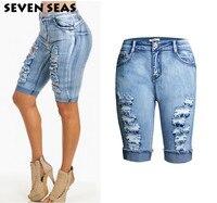 Moda Na Altura Do Joelho Shorts Jeans Mulheres Plus Size Short Jeans Rasgado Afligido Do Vintage Cintura Alta Shorts femme de Grandes Dimensões