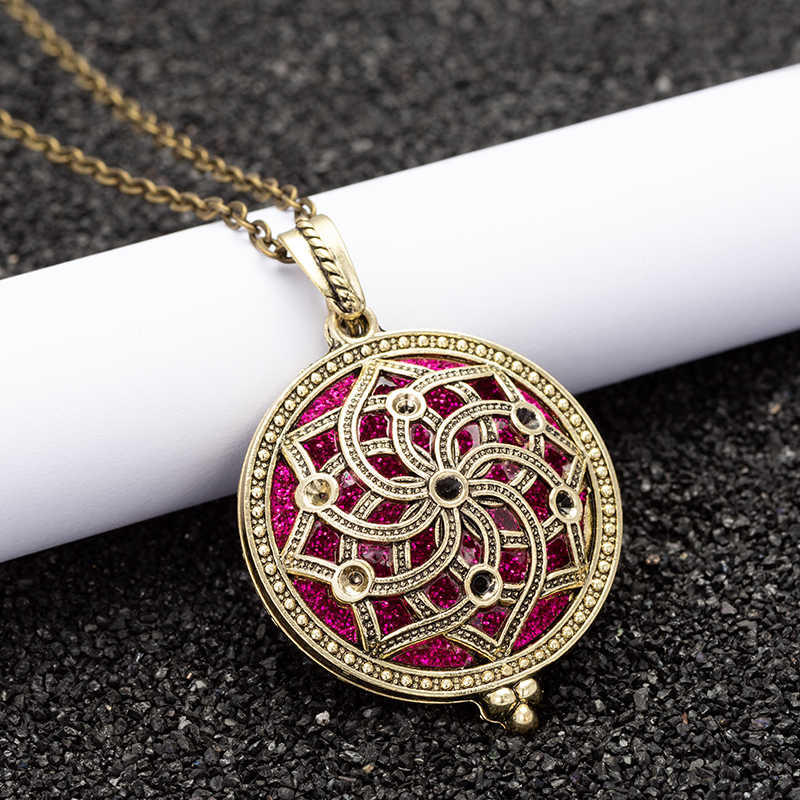 Aroma Diffuser Necklace Open Antique Vintage Lockets Pendant Perfume Essential Oil Aromatherapy Locket Necklace HJ66-1