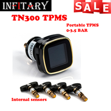 Cigarette lighter power Alarm Systems Wireless tire pressure monitor tpms system monitor 4 internal sensors For 4 wheels car