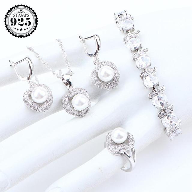 Women Wedding Pearls Silver...