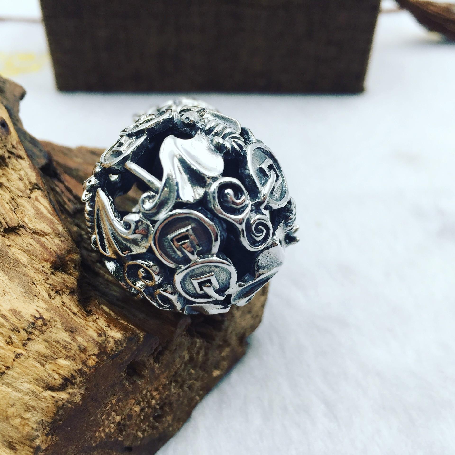 Древние тайские серебряные деньги подлинный S925 Серебряный кулон висящий колокольчик летучая мышь Тыква может вращаться напрямую от произв... - 5