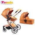 Cochecito de bebé voondo se puede doblar luz plegable amortiguador cuatro ruedas