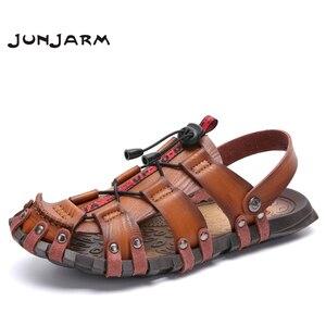 Image 1 - JUNJARM 2020 nouveaux hommes sandales dété tongs pantoufles hommes en plein air plage chaussures décontractées pas cher mâle sandales Sandalia Masculina 47
