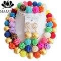 De moda de Nigeria Boda perlas africanas joyería conjunto VV-222 Multicolors plástico collar pendientes pulsera Envío libre
