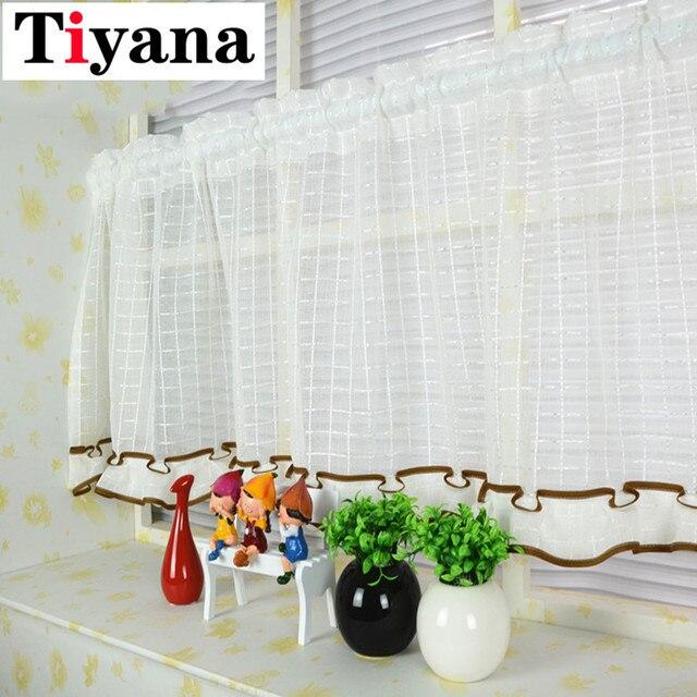 US $5.4 24% OFF|Rustikalen stil kaffee kurze halb vorhänge kopf vorhang für  küche schrank fenster tür cafe wand decor bildschirm drapieren SC013D2 in  ...