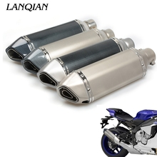 Universal Fiber Motorcycle Exhaust Pipe Muffler Motorbike Exhaust Modified Exhaust Pipe For SUZUKI GSXR 600 750 1000 new style motorcycle mid exhaust pipe through hole exhaust exhaust muffle for suzuki gsxr1000 gsxr 1000 2006 2007