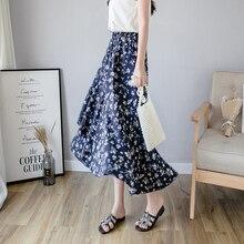 Floral Print Boho Summer Holiday Elastic Waist Layered Ruffle Skirt Women Skirts 2019 Beach Wear Mid Waist Casual Skirts цена 2017