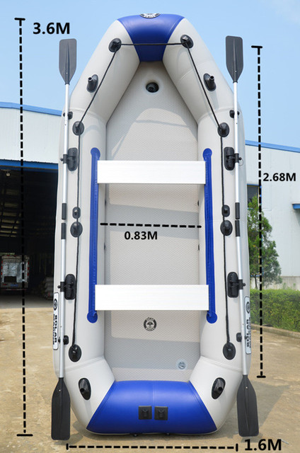 3.6M rowing boat inflatables kayak fishing boat inflatable surfing boat laminated  wear-resistant pvc boat for 6-8person