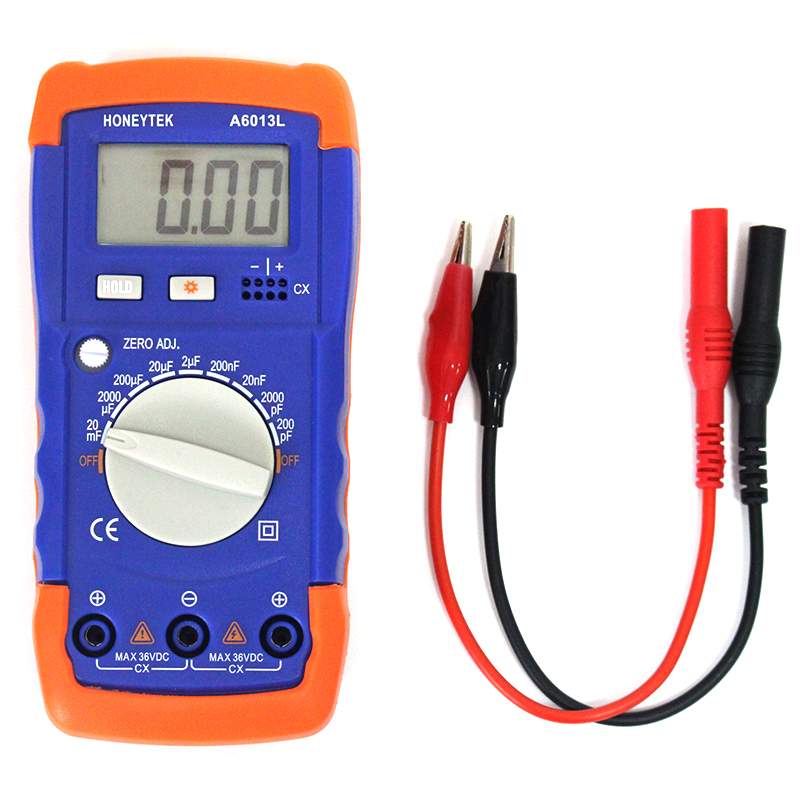 Hight quality A6013L Digital Multimeter Capacitance Capacitor Tester gauge test wprobes Meter like the XC6013L cnim hot m6013 autorange digital capacitor capacitance circuit tester meter multimeter yellow