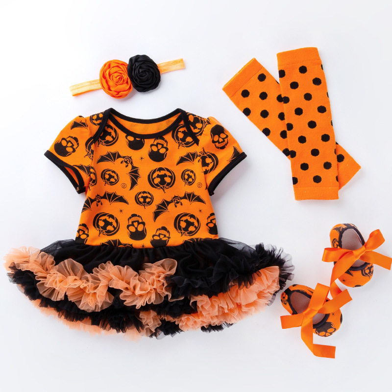 My First Halloween Girl Romper Sets Infantil Short Sleeve Jumpsuits Skeleton Clothes Halloween Kids Costume Baby Product