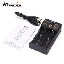 Alonefire MC202 18650 USB charger 1.2V 3.7V 3.2V 3.85V AA/AAA 26650 14500 16340 Li-ion NiMH NiCad Lithium battery flashlight