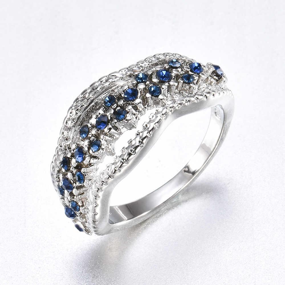 Nueva moda 2019 Anillos de Compromiso de boda de mujer anillo azul con relleno de plata Size6-10 para regalo de mujeres y niñas gran venta