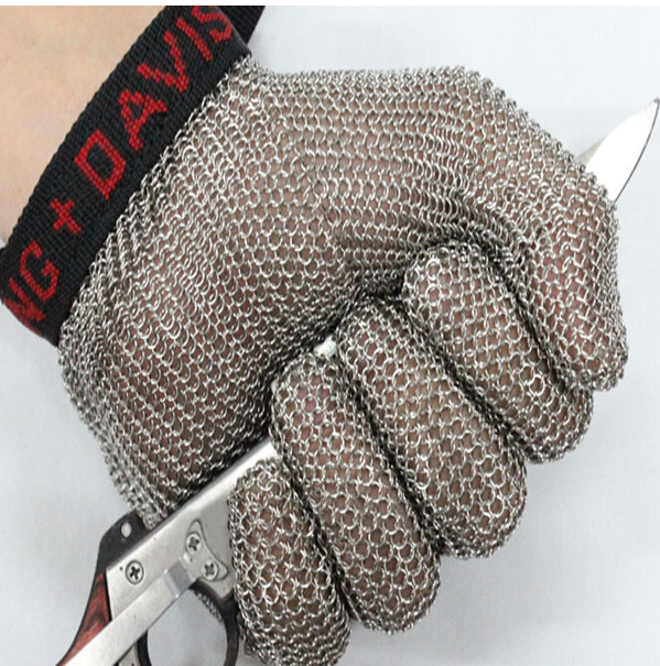 Whitting davis stainless steel metal mesh steel chain glove meat cut glvoe butcher glove top quality 304l stainless steel mesh knife cut resistant chain mail protective glove for kitchen butcher working safety