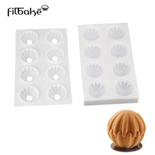 One Set 8 Cavity Sphere White Silicone Cake Mould Bakeware Sweet Decoration Molds