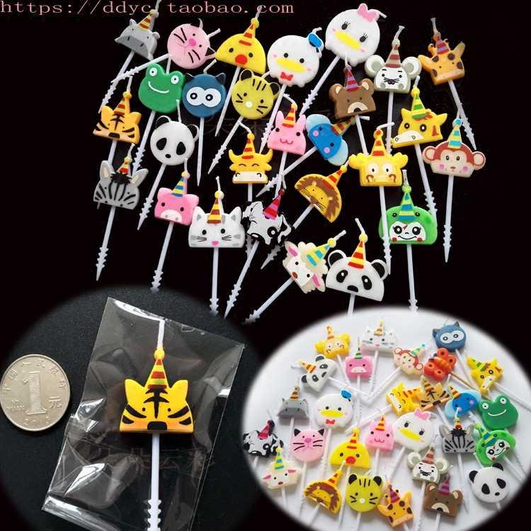 Single Price Bag Birthday Candles Various Small Animals Style Mini Cake Decoration Children 12 Zodiac