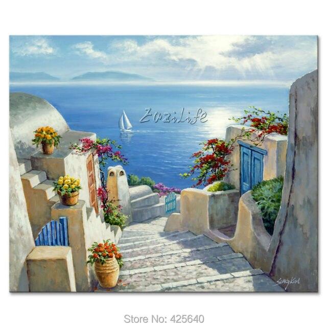 US $59.0 |Dipinti a mano Paesaggi Marini pittura per il salotto decora una  parete Mediterraneo immagini dipinte su tela art 16 in Dipinti a mano ...