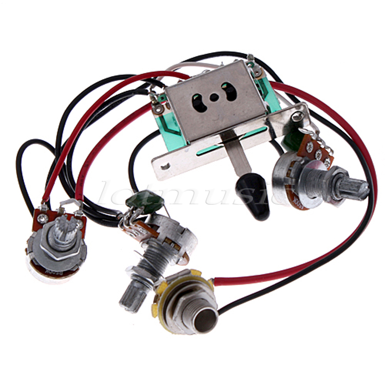 5 pickup switch pots jack wiring harness for fender strat guitar replacement in guitar parts. Black Bedroom Furniture Sets. Home Design Ideas