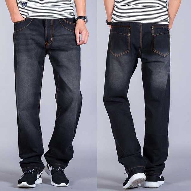 ff35a3de94374 Men's Long Straight Leg Jeans Trousers Slim Large Jeans Men Big Size Man  Brand Cotton Denim Pants Jen Size 46 44 42 40