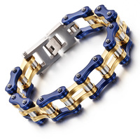 Bicycle Bracelet Europe And The United States Trend Gold Blue Thick Cycling Chain Titanium Steel Bracelet