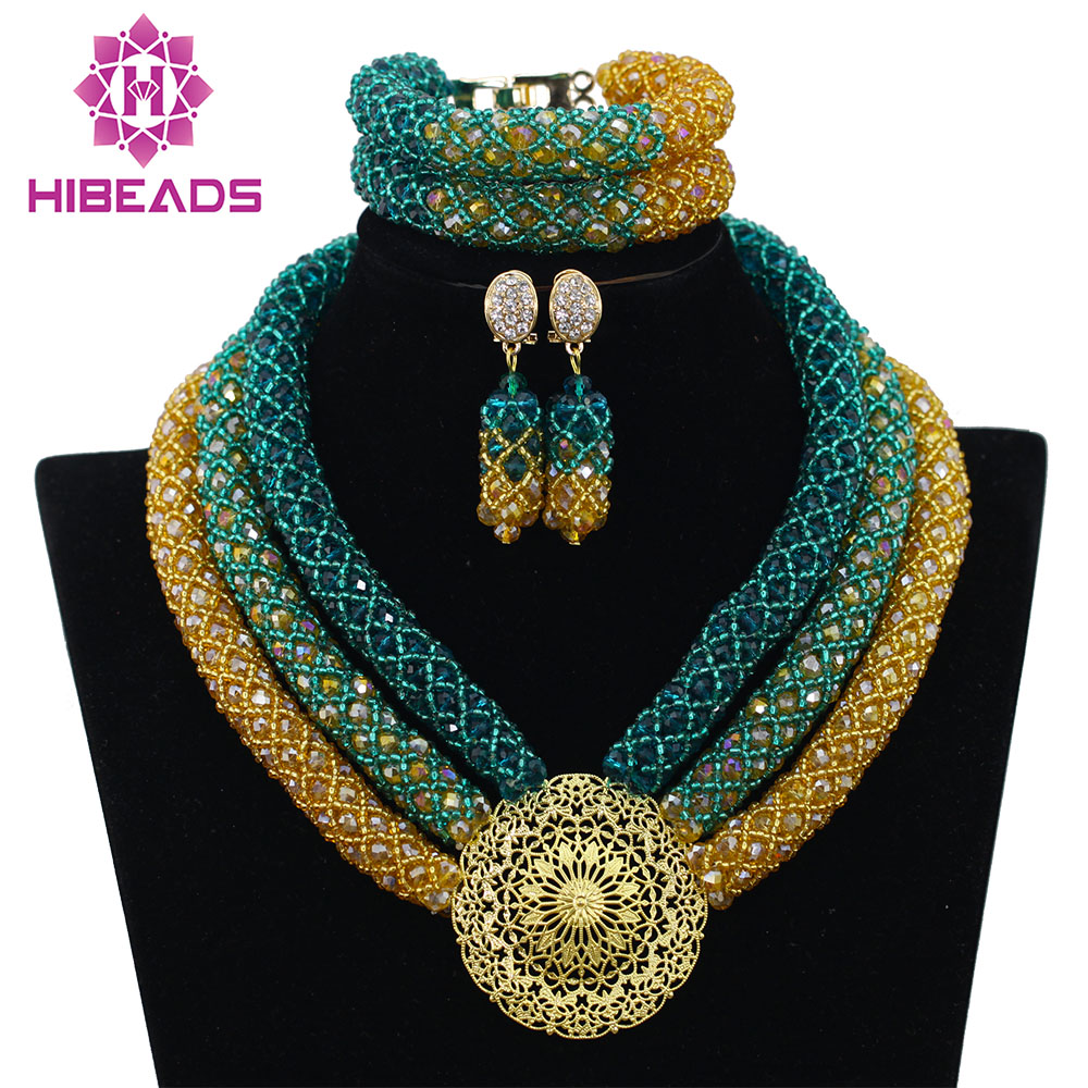 Nigerian Wedding African Beads Bridal Jewelry Sets Teal
