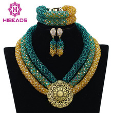 Nigerian Wedding African Beads Bridal Jewelry Sets Teal Green Gold Crystal Beads Braid Women Necklace Set Free Shipping ABF754
