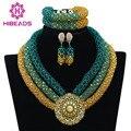 Nigeriano Perlas Africanas de la Boda Joyería Nupcial Establece Teal Verde ABF754 Trenza de Oro Perlas De Cristal Collar de Las Mujeres Fijó El Envío Libre