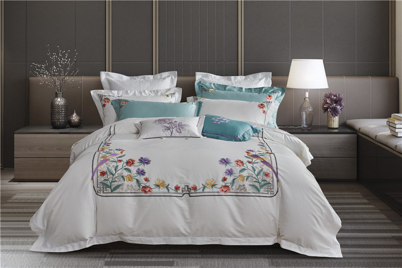 Flowers Bedding Set Queen Size embroidery Bedding Sheet egyptian cotton Bed Linen ropa de cama King Bed Set Duvet Cover 4pcsFlowers Bedding Set Queen Size embroidery Bedding Sheet egyptian cotton Bed Linen ropa de cama King Bed Set Duvet Cover 4pcs