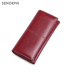 Sendefn винтажные женские кошельки Длинные Сплит кожа леди кошелек модный бренд случайный бумажник