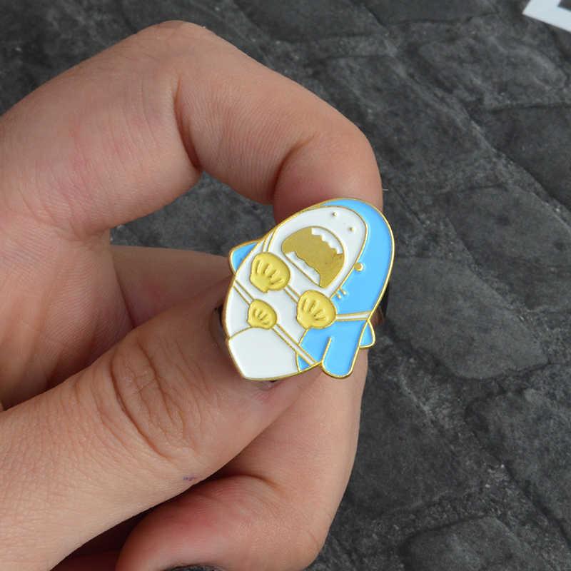 Забавный Милый Мультфильм Акула кит дельфин Нарвал эмаль нагрудный знак брошь джинсовая одежда рубашка пряжка значок модный подарок для детей