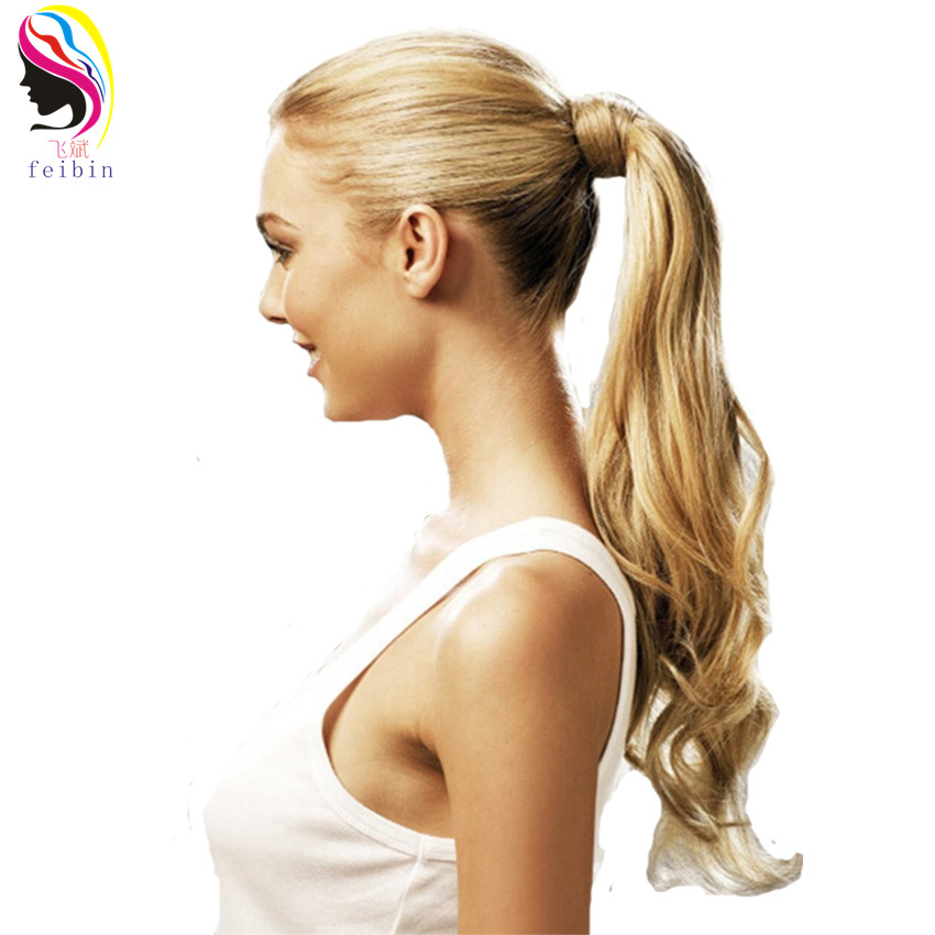 Feibin Synthetic Tie on Ponytail Hair Extensions For Women Tail Hairpiece Long Natural Wave High Temperature 24inches B40