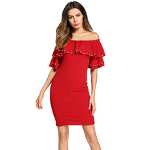 #1865729# Hot Muslim Women Spliced A Line Off Shoulder Nail Bead Flounce Solid Red Loose Dress все цены