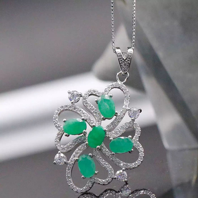 Collier Qi Xuan_Fashion Jewelry_Colombian Green Stone Fashion Necklaces_S925 Solid Pendant Necklaces_Factory Directly Sales 2017 collier qi xuan fashion jewelry
