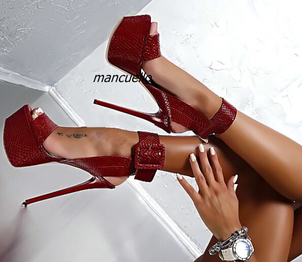 Women Sexy Red Snakeskin PU Leather Platform Sandals Concise Buckle Style Open Toe Stiletto Heel Shoes Pretty Super High Shoes trendy style stiletto heel and double buckle design women s sandals