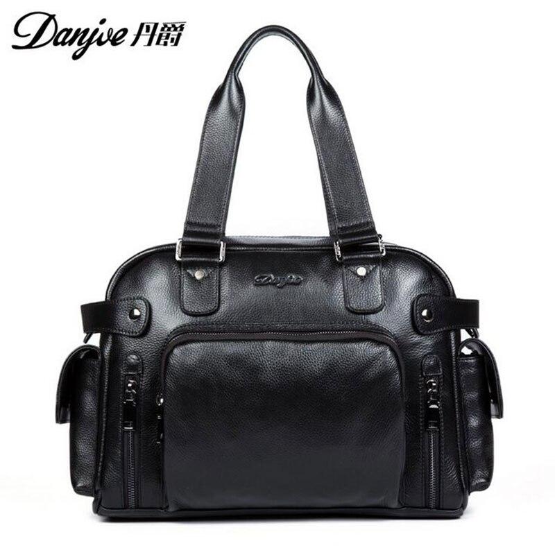 2016 DANJUE New Style For 14 Laptop Fashion Shoulder Bags High Quality Genuine Cowhide Solid men Laptop bag DJ05