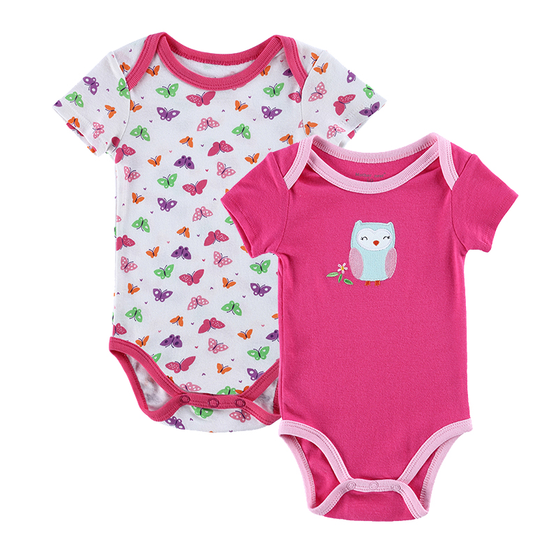 100% Cotton Newborn Baby Girls Boys Fashion Summer 2 PCS/LOT Rompers Baby Romper Body Suit Cartoon Clothes