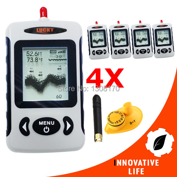 4 x pieces Digital 45M Wireless Dot Matrix Fish Finder Sonar Radio Sea Bed Contour LUCKY FFW-718 Fish Locator Tool