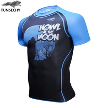 New design,Mens Compression Shirts Bodybuilding Skin Tight Short Sleeve Jerseys Rashguard TUNSECHY Crossfit Weight Lifting Shirt