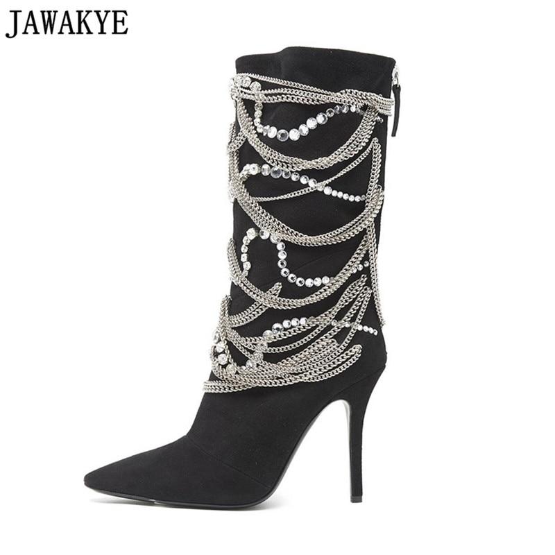Fétiche genou haute bottes pour femmes chaîne en métal bling bling cristal embelli 12 cm super haute talons catwalk mi-mollet bottes