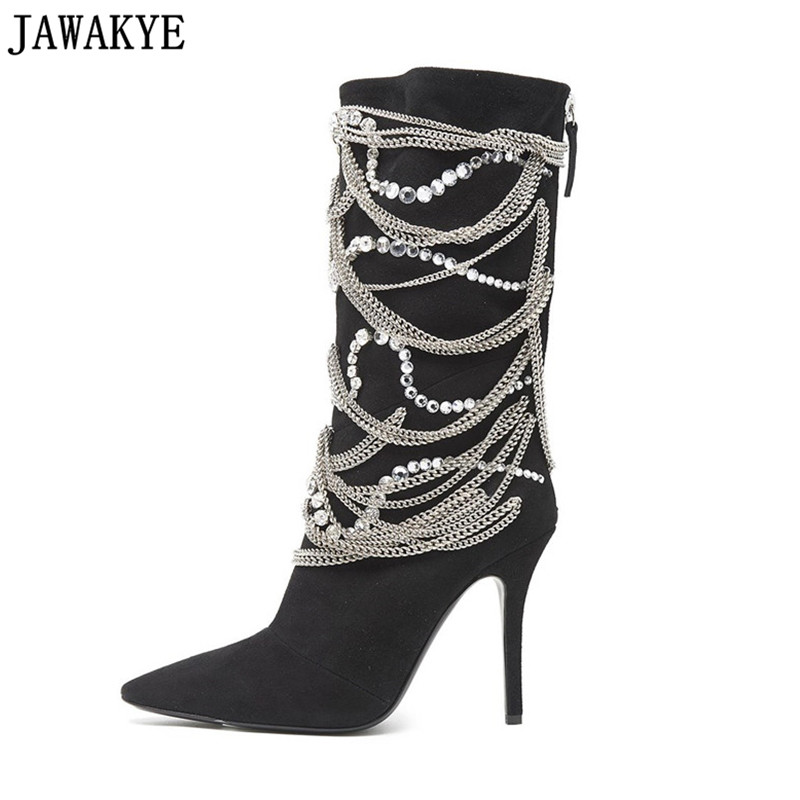 Fetish stivali alti al ginocchio per le donne della catena del metallo di bling bling di cristallo abbellito 12 cm super-tacchi alti passerella metà polpaccio stivali