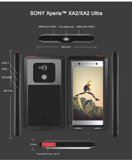 buy popular cedaf d2a90 US $25.82 17% OFF|For SONY Xperia XA2/ XA2 Ultra Case LOVE MEI Shock Dirt  Proof Water Resistant Metal Armor Cover Phone Case for Sony Xperia XA2-in  ...